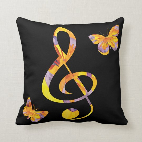 Modern watercolor treble clef and butterflies throw pillow