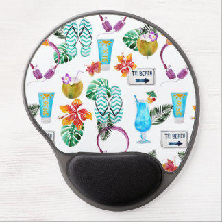 Modern Watercolor Tropical Beach Pattern Gel Mouse Pad