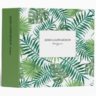 Modern watercolor tropical leaves pattern personal 3 ring binder