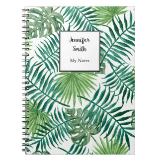 Modern watercolor tropical leaves personalized spiral notebook