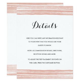 Modern Watercolor Wedding Details Card