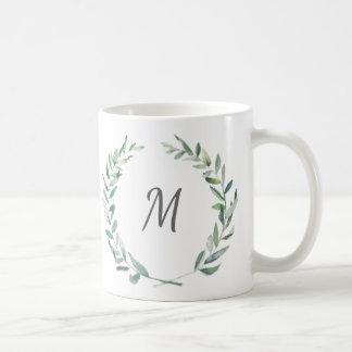 Modern Watercolor Wreath Monogram Mug