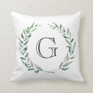 Modern Watercolor Wreath Monogram Pillow
