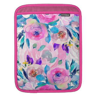Modern Watercolors Colorful Flowers Collage iPad Sleeve