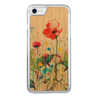 Modern Watercolors Colorful Flowers Illustration Carved iPhone 8/7 Case