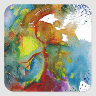 Modern Watercolour Anatomical Heart Square Sticker