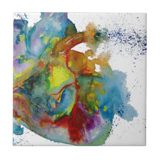 Modern Watercolour Anatomical Heart Tile