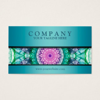 modern WaterLily mandala teal Business Card