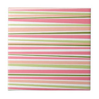 Modern watermelon colors stripes pattern tile