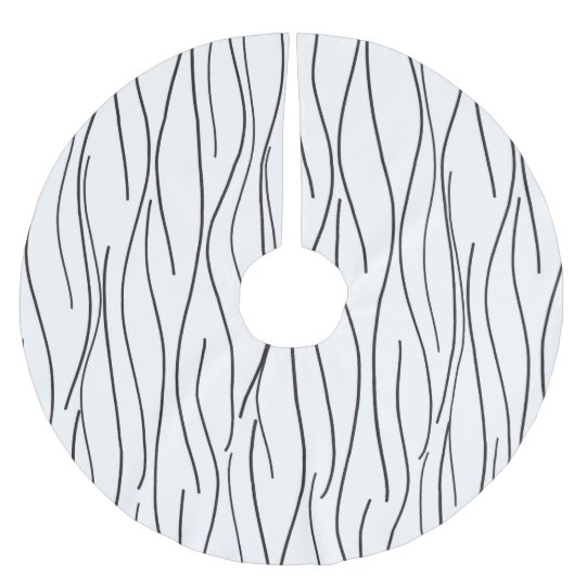Modern Wavy Lineart Brushed Polyester Tree Skirt