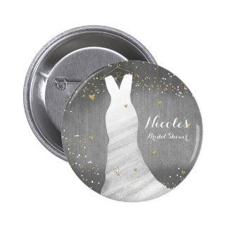 Modern Wedding Dress Confetti Hearts Bridal Shower 2 Inch Round Button