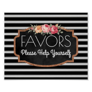 Modern Wedding Favors Sign | Stripes Floral Roses Poster