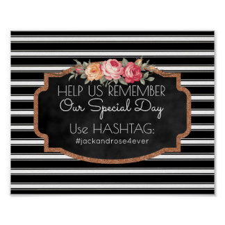 Modern Wedding Hashtag Sign | Rose Gold B&W Stripe