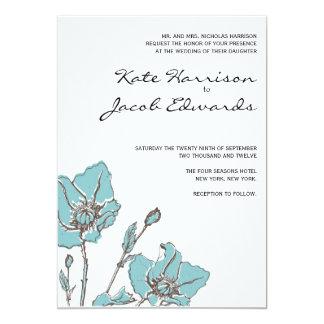 "Modern Wedding Invitation :: Blue Poppies 5"" X 7"" Invitation Card"
