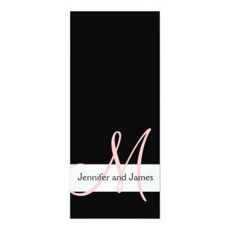 "Modern Wedding Invitation Monogram | Black Pink 4"" X 9.25"" Invitation Card"