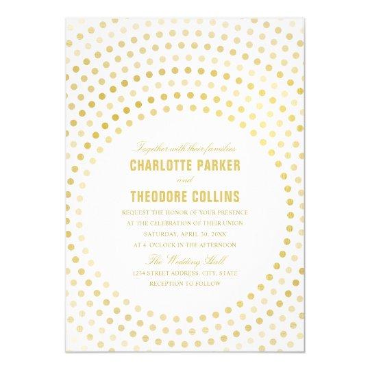 Modern Wedding Invitations, Elegant Faux Gold Card