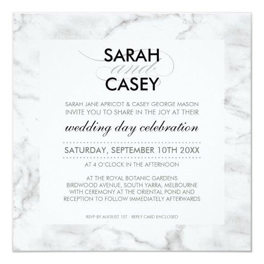 MODERN WEDDING INVITE modern mod spot black marble