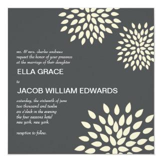"""Modern Wedding Invite // Posh Petals // Vanilla 5.25"""" Square Invitation Card"""