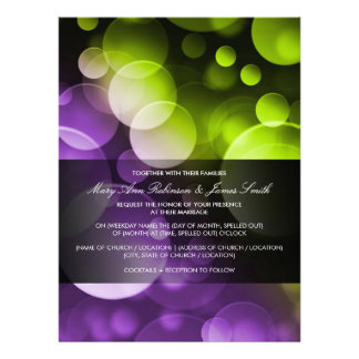 Modern Wedding Lights at Night Purple Lime Custom Invite