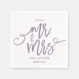 Modern Wedding Napkins | Brush Script (Lavender) Paper Napkin
