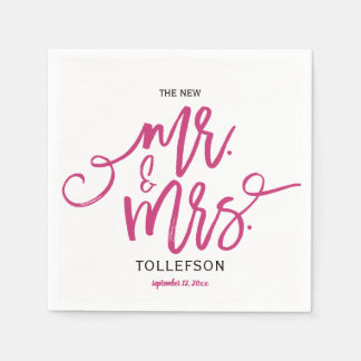 Modern Wedding Napkins | Brush Script (Magenta) Paper Napkins