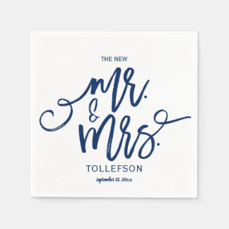 Modern Wedding Napkins | Brush Script (Navy Blue) Disposable Napkins