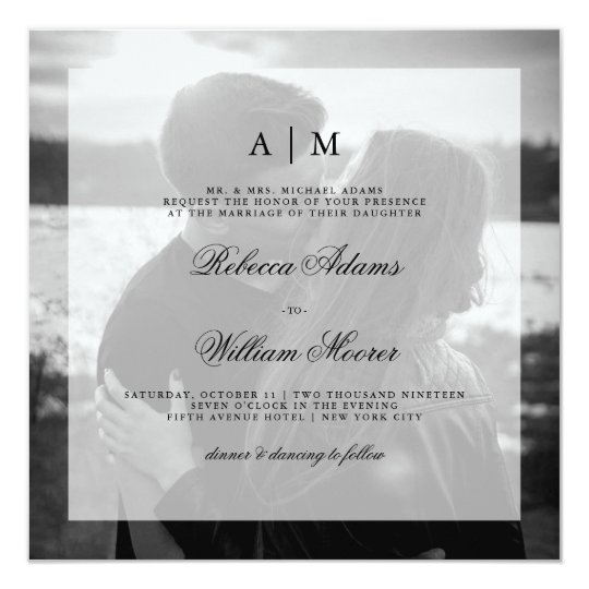Modern Wedding Photo Square Invitation | Overlay