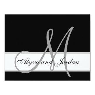 "Modern Wedding RSVP Card Monogram Names 4.25"" X 5.5"" Invitation Card"