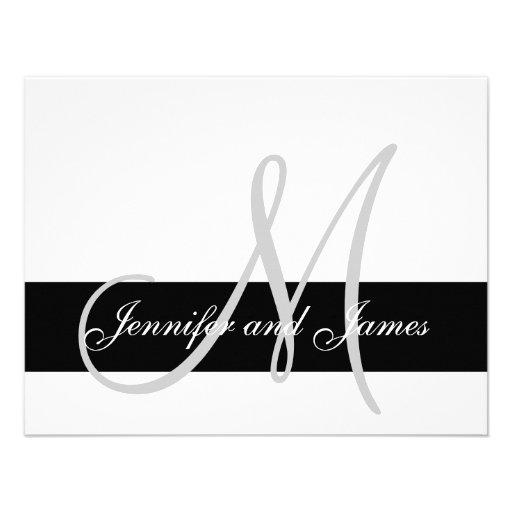 Modern Wedding RSVP Card Monogram Names Personalized Invite