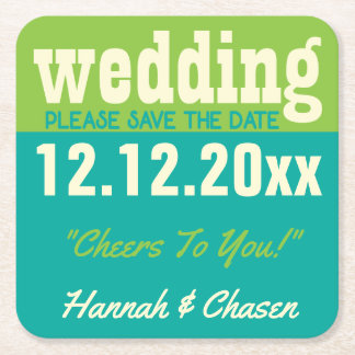 Modern Wedding Save The Date Coaster