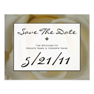 """Modern Wedding Save The Date - Off White Rose 4.25"""" X 5.5"""" Invitation Card"""