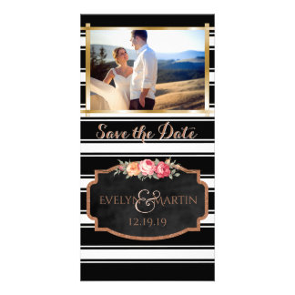 Modern Wedding Save the Date Photo Rose Gold Photo Cards