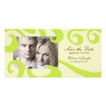 Modern Wedding Save the Date PhotoCard Cream/Green Photo Card