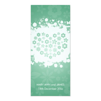 "Modern Wedding Secret Garden Mint 4"" X 9.25"" Invitation Card"