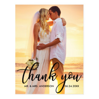 Modern Wedding Thank You Bride Groom Photo B Postcard