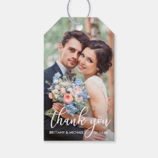 Modern Wedding Thank You Bride Groom Photo Gift Tags