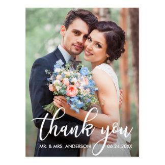 Modern Wedding Thank You Bride Groom Photo Postcard