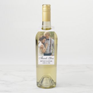 Modern Wedding Thank You Photo Bottle Tag