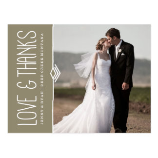 MODERN WEDDING THANK YOU POST CARD