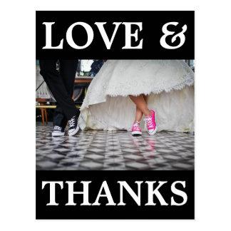 Modern wedding thank you postcard