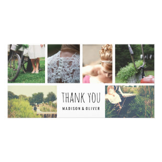 Modern Wedding Thank You Six Photo Collage Picture Card