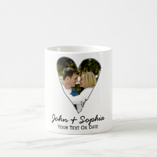 Modern Wedding Valentine Love Heart Custom Photo Classic White Coffee Mug