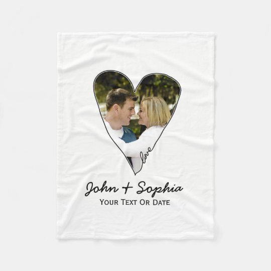 Modern Wedding Valentine Love Heart Custom Photo Fleece Blanket