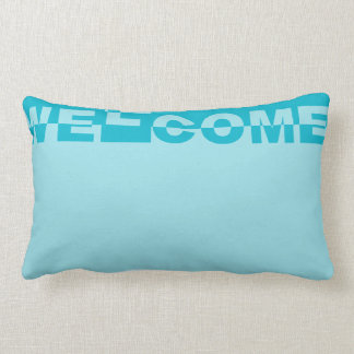 Modern WELCOME Banner + your backgr. & ideas Lumbar Pillow