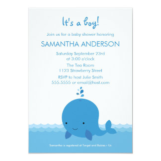 Modern Whale Baby Shower Invitation - Boy