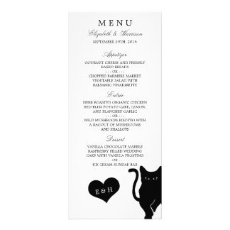 Modern Whimsical Black Cat Wedding Menu