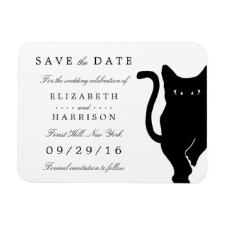 Modern Whimsical Black Cat Wedding Save The Date Magnet