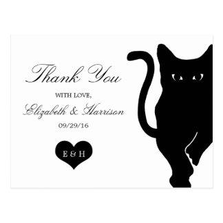 Modern Whimsical Black Cat Wedding Thank You Postcard
