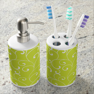 Modern Whimsical Curls Lime Green Soap Dispenser And Toothbrush Holder