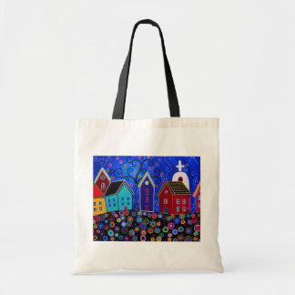 Modern Whimsical Mexican Town Tote Bag by Prisarts